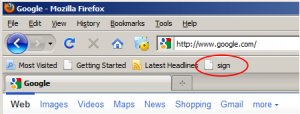 bookmarklet shown in Firefox bookmark toolbar