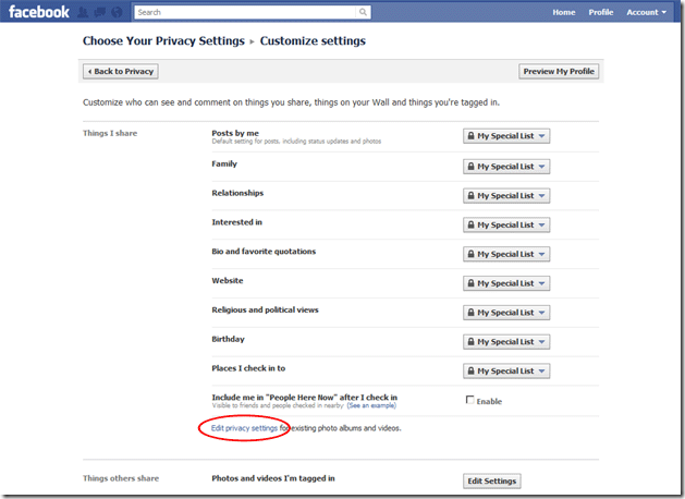 Location of Edit privacy settings link